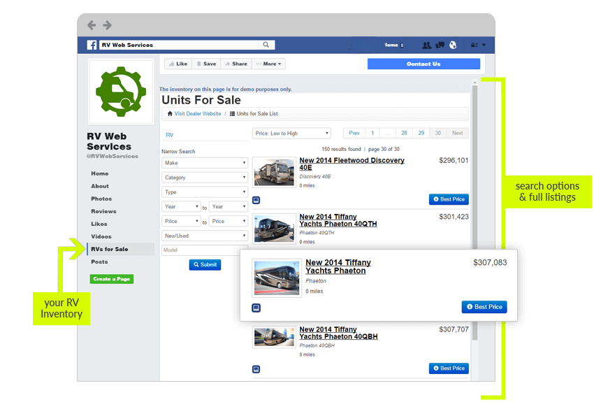 Use Facebook to show your RV inventory with full listings and search options