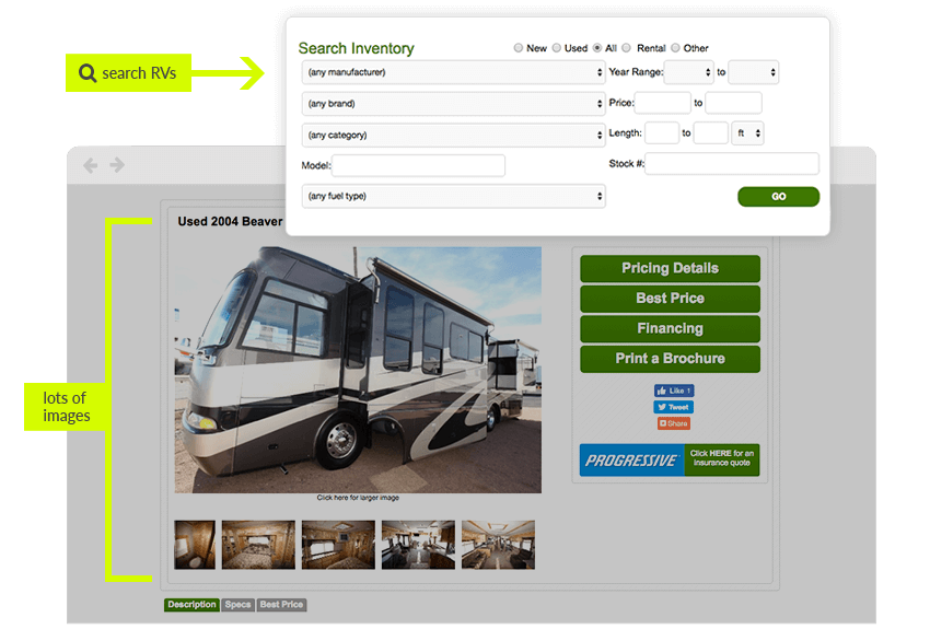 RV showroom with a search feature and lots of pictures