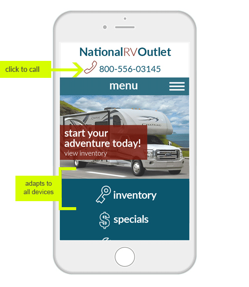 RV Demo 1 mobile phone example - show all inventory and click to call features