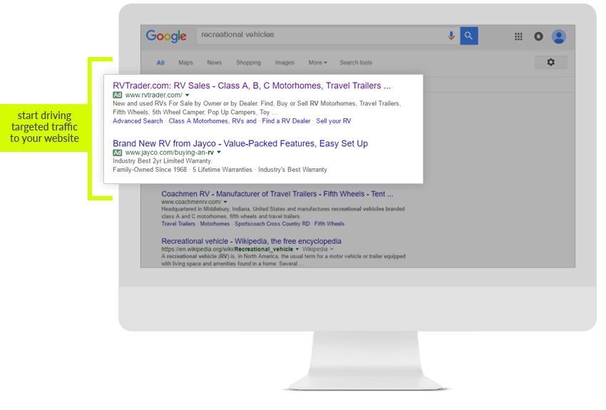 Use SEM and PPC to start driving targeted traffic to your website